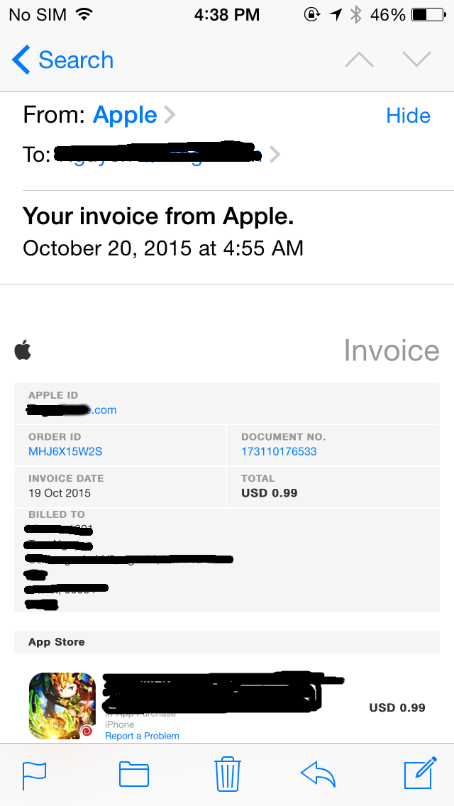 where can i find my receipts after making a payment via itunes and